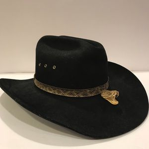 Vintage Bailey Yuma cowboy hat snake head rattle